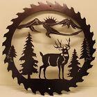 Deer and Mountain Sawblade Metal Wall Art Home Decor