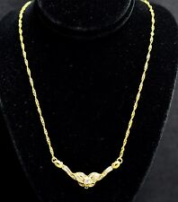 18k Solid Yellow Gold  Natural Diamond Necklace 0.60 ct baguette Singapore Twist