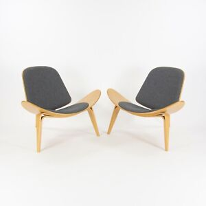 Hans Wegner Carl Hansen Denmark CH07 Shell Lounge Chairs Lacquered Oak 2x Avail