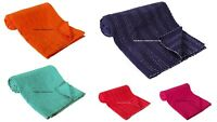 Indian Handmade Kantha Quilt Throw Reversible Bedspread Solid Plain Cotton Throw