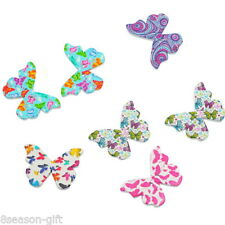 50PCs Mixed Wooden Butterfly Buttons Fit Sewing and Scrapbook 28x20.8mm