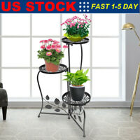 Wrought Iron Metal Plant Stand Holds 3 Flower Pot Rack Indoor Outdoor Black USA