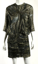 ISABEL MARANT Black & Gold Lurex Silk Georgette Pleated Dress 42