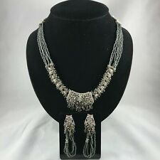 Vintage Indian Persian Handmade Silver & Zircon Diamond Necklace Earring Set!