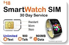 $18 Smart Watch Sim Card For 2G 3G 4G Lte Gsm Smartwatches - 30 Day Service
