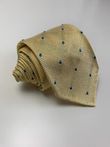 Exquisite Trimmings Drakes NWOT Hand Made In Italy Yellow polka dot silk Tie
