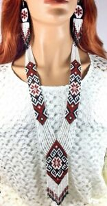 HANDCRAFTED BEADED NATIVE STYLE WHITE MULTI-COLOR NECKLACE EARRINGS SET S58/7