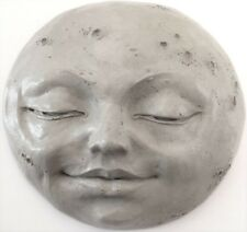 "9"" Moon Wall Sculpture, Indoor Outdoor Handmade Full Moon Face by Claybraven"