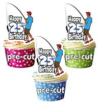 PRECUT Fishing 12 Cup Cake Toppers Birthday Decorations Boys Mens Son ANY AGE