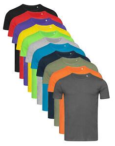 Hommes Uni Cotton T-Shirt avec Côté Coutures Pour Slim Moulant Fit-T