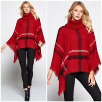 Red Plaid Turtleneck Poncho Knit Fringe Sweater Womens One Size