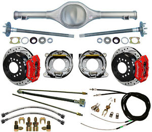 CURRIE 67-70 MUSTANG REAR END & WILWOOD DRILLED DISC BRAKES,RED CALIPERS,LINES,+