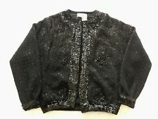 BONNIE WONG Vintage Black Beaded Sequin Cardigan Sweater Wool XS/S