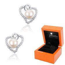 Perlen Zirkonia Herz Ohrstecker 7 mm aus 925 Silber Sterlingsilber + LED Box