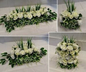 Artificial Bespoke White Flower Wedding Table Centrepiece Greenery Roses Ivy