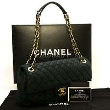 Authentic CHANEL Swede Chain Shoulder Bag 2012 or 2013 Black Quilted Flap c92
