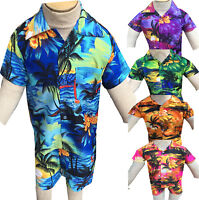 Hawaiian Shirt Suits Shorts Party Boys Girls Kids Children palm tree Fancy dress