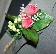 Rustic Pink Flowers Boutonniere, Wedding Accessories, Prom