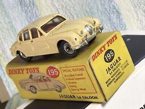 Dinky Toys #195 Jaguar 3.4 saloon VG/NMinFB beige 4 wheel suspension