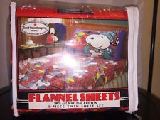 New Vintage Snoopy Woodstock Flannel Twin Size Bed Sheet Set Winter Peanuts