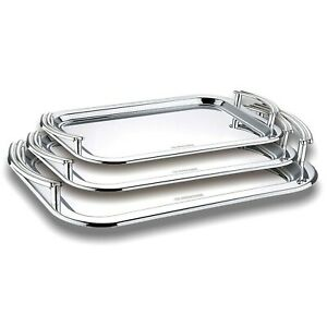 Set of 3 Stainless Steel Food Serving Tray With Handles Dish Meal Platter Design