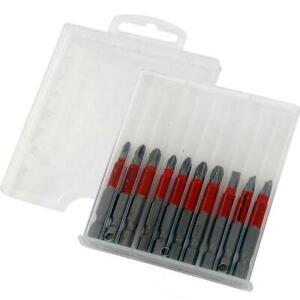 10pc 50mm Non Slip Magnetic Screwdriver / Drill Bit Set in a Storage Case