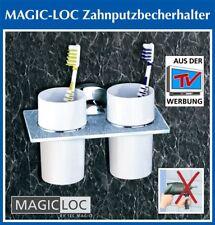 ZAHNPUTZBECHER 2er SET Magic Loc Zahnbürstenhalter Ablage Becher