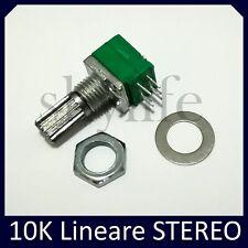 Potenziometro 10K Stereo lineare AUDIO monogiro 6mm - 1 pezzo 10 Kohm doppio