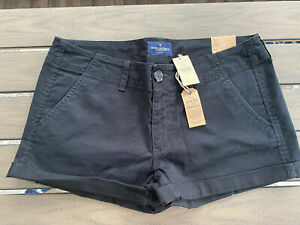 American Eagle Womens Shortie Low Rise Stretch Shorts Black Size 8