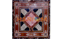 36'' Black Marble Dining Top Table Multi Mosaic Stone Inlay Cafeteria Decor B557