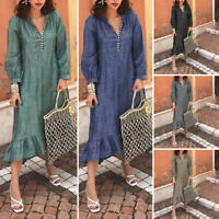 VONDA Women Loose Solid Long Sleeve Dress Casual V Neck Vintage Shirt Midi Dress