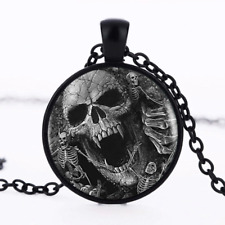 Cráneo De Vampiro Horror Punk Collar Colgante Esqueletos Gótico Joyas Bolsa De Regalo