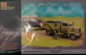 "Sealed Pegasus 1:72 scale ""German Army Trucks"" plastic model kits"