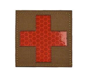 IFAK Red Cross EMT Paramedic EMS Reflective Brown Tan Desert Patch - Hook & Loop