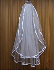 New 2T White Wedding Bridal Veil Satin Edge Elbow Comb Stock  321512