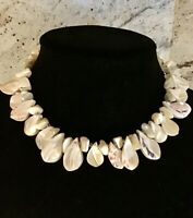 VINTAGE JAPAN NECKLACE SHELL MOTHER OF PEARL MARKED JAPAN 14-16 INCH