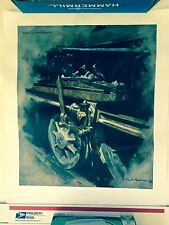 SIGNED DAVID SHEPHERD STUDY FOR OIL MUCK AND SUNLIGHT railroad train,