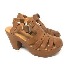 Kork-Ease Womens Blythe Platform Block Heels Shoes Brown Leather T Strap 6 M