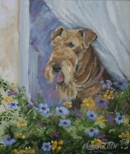 AIREDALE TERRIER DOG NEW ORIGINAL OIL PAINTING SANDRA COEN ARTIST CANVAS