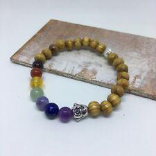 Chakra Bracelet Healing Stone 7 Bead Buddha Head Natural Gemstone Mens Womens