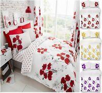 Luxuries POPPY FLORAL Printed Reversable Duvet Cover+Pillow Case Bedding Set Gc