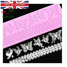Sugar Lace Butterfly Silicone Embossing Impression Mat Mould Cake Decorating BDR