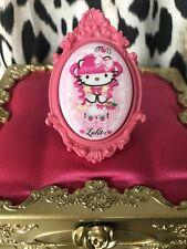 Tarina Tarantino HUGE Pink Head Hello Kitty Lolita Cameo Fuchsia Pink Cameo Ring