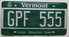 Vermont 2012 License Plate # GPF 555