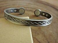 2 Pack Antique Silver Pure Copper Magnetic Bracelet Arthritis Pain Relief Cuff *