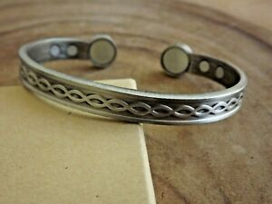 Antique Silver Pure Copper Magnetic Bracelet Arthritis Therapy Adjustable Cuff