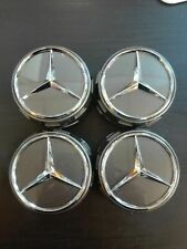 4 Logo AMG Mercedes Cache Moyeu Jante Centre De Roue GRIS 75mm Emblème