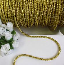 Stunning 3 MM Metallic Golden Twisted Cord / Rope / Trim - 2.5 Yards (T1223)