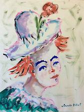 Claude TABET (1924-1979) Femme au chapeau expressionniste expressionnisme