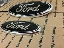 "NEW FORD F150 04-2014 TRUCK FRONT HOOD GRILL & TAILGATE LOGO OVAL 9"" & 7"" BLACK"